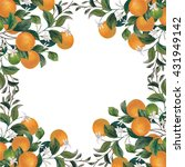 frame with lemons and oranges.... | Shutterstock . vector #431949142