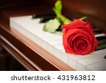 close up of rose on piano in... | Shutterstock . vector #431963812