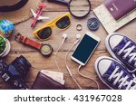 travel accessories for trip on... | Shutterstock . vector #431967028
