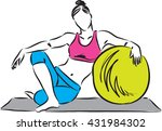 fitness girl with exercise ball ...