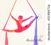 silhouettes of a gymnast in the ... | Shutterstock .eps vector #431984716