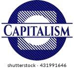 capitalism badge with denim... | Shutterstock .eps vector #431991646