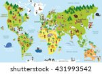 funny cartoon world map with... | Shutterstock .eps vector #431993542