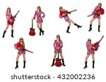 woman guitar player isolated on ... | Shutterstock . vector #432002236