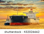 Tanker Ship On Sea In The Rays...