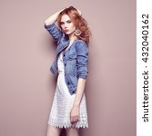 fashion portrait of beautiful... | Shutterstock . vector #432040162