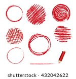 vector red pencil circles. hand ... | Shutterstock .eps vector #432042622