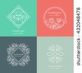 vector flower shop logo design... | Shutterstock .eps vector #432048478
