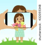 smartphone photo of cute girl... | Shutterstock .eps vector #432055348