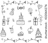 doodle vector art birthday... | Shutterstock .eps vector #432064276