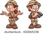 explorer kids in safari outfits.... | Shutterstock .eps vector #432065158