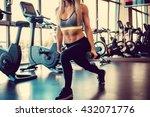 sexy blond female doing workout ...   Shutterstock . vector #432071776