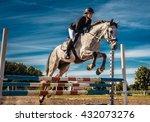 Horse Rider In Action Under...
