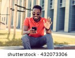 afro american male in red t... | Shutterstock . vector #432073306