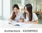 two asian students studying... | Shutterstock . vector #432089002