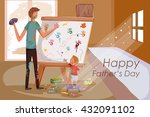 happy father's day greeting... | Shutterstock .eps vector #432091102