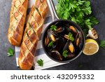 mussels and homemade bread on... | Shutterstock . vector #432095332