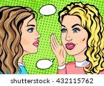 retro pop art two girls... | Shutterstock .eps vector #432115762