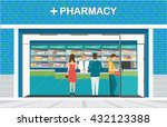 male pharmacist at the counter... | Shutterstock .eps vector #432123388