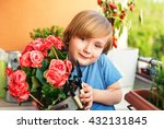 cute little boy playing with... | Shutterstock . vector #432131845