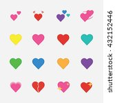 set of heart flat icon vector... | Shutterstock .eps vector #432152446