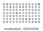 set of gray emoticon vector...