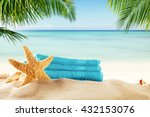 summer accessories on sandy... | Shutterstock . vector #432153076