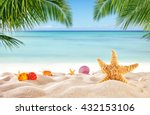 tropical beach with various... | Shutterstock . vector #432153106