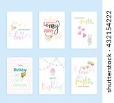 birthday card set. | Shutterstock .eps vector #432154222