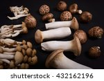 variety of mushrooms on dark... | Shutterstock . vector #432162196