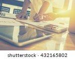 teamwork  concept man and woman ... | Shutterstock . vector #432165802