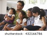 family sitting on sofa at home... | Shutterstock . vector #432166786