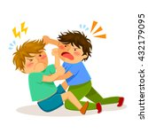 two boys hitting each other on... | Shutterstock .eps vector #432179095