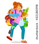 stressed woman carrying a... | Shutterstock . vector #432180598