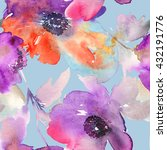 purple watercolor flowers.... | Shutterstock . vector #432191776