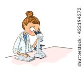 cartoon woman scientist is... | Shutterstock .eps vector #432194272