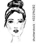 young beautiful woman  ink... | Shutterstock . vector #432196282