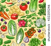 vegetable sketchy seamless... | Shutterstock .eps vector #432205246