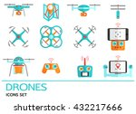 flat icons set with drones.... | Shutterstock . vector #432217666
