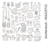 hand draw kitchen utensils... | Shutterstock .eps vector #432225712