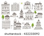hand drawn buildings sketchy set | Shutterstock .eps vector #432233092