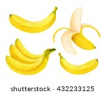 set of fresh ripe banana... | Shutterstock . vector #432233125