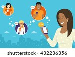 smiling african woman holds the ... | Shutterstock .eps vector #432236356