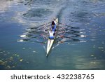 four women rowing on the...   Shutterstock . vector #432238765