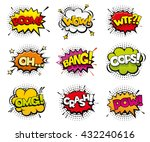 Comic sound effects in pop art vector style. Sound bubble speech with word and comic cartoon expression sounds illustration | Shutterstock vector #432240616