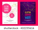 Electro summer wave music poster. Club music flyer. Abstract colored waves music background. | Shutterstock vector #432255616