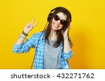 modern happy millennial teenage ... | Shutterstock . vector #432271762
