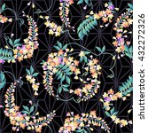 japanese style wisteria pattern | Shutterstock .eps vector #432272326