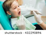 cute little boy sitting with... | Shutterstock . vector #432290896