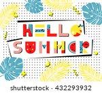 hello summer poster. hand drawn ... | Shutterstock .eps vector #432293932